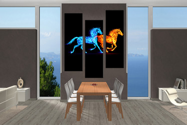3 piece canvas photography, dining room canvas wall art, horse large pictures, wildlife photo canvas