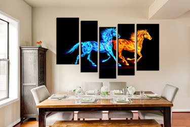 dining room wall decor, 5 piece wall art, wild multi panel art, blue yellow horse artwork, animal pictures