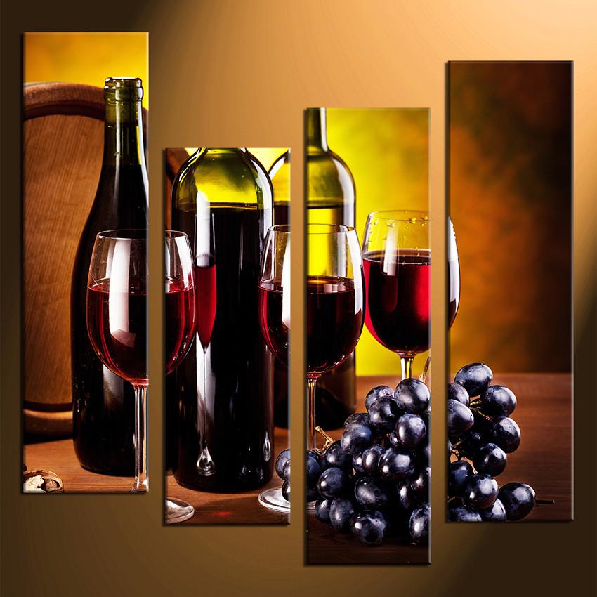 4 Piece Multi Panel Canvas Red Wine Huge Canvas Art Wine Group