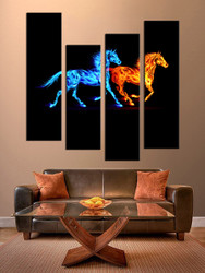 4 piece photo canvas living room canvas print, red yellow horse artwork, wildlife multi panel canvas
