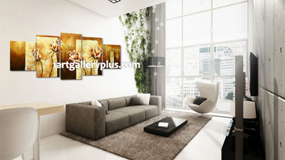 5 piece huge pictures, living room artwork, yellow group canvas, floral artwork, panoramic multi panel canvas