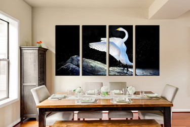 4 piece canvas wall art, dining room large canvas, swan canvas photography, wildlife huge pictures