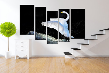 wildlife art, 5 piece canvas wall art, swan photo canvas, animal artwork, wildlife decor