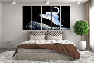bedroom decor, 5 piece wall art, bird pictures, swan art, animal large pictures