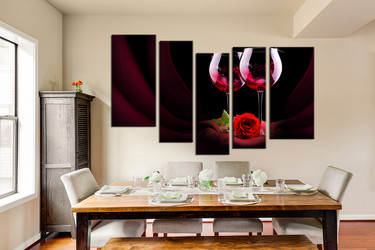 5 piece huge canvas art, dining room canvas wall print, rose multi panel art, red rose large pictures