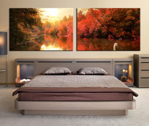 bedroom decor, 2 piece wall art, nature multi panel art, scenery art, panoramic scenery canvas print