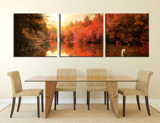 3 piece wall art, scenery multi panel art, scenery artwork, panoramic nature large canvas ,dining room wall decor