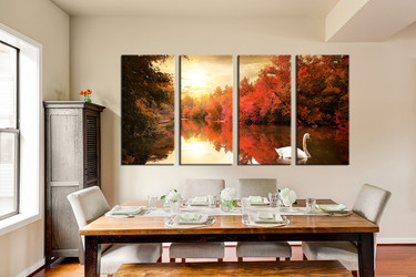 forest artwork, dining room art, 4 piece canvas art prints, nature canvas print, scenery group canvas
