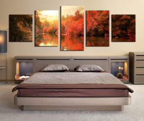 bedroom decor, 5 piece wall art, nature multi panel art, scenery art, panoramic scenery canvas print