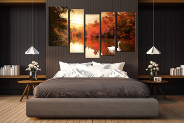bedroom wall art, 5 piece canvas art prints, nature canvas print, sunrise artwork, scenery canvas photography