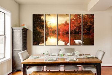 forest artwork, dining room art, 5 piece canvas art prints, nature canvas print, scenery group canvas