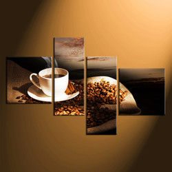 home decor, 4 piece canvas art prints, cup large canvas , coffee beans artwork, cup large canvas
