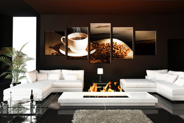 living room artwork, 5 piece canvas wall art, coffee beans multi panel canvas, cup pictures, kitchen huge pictures