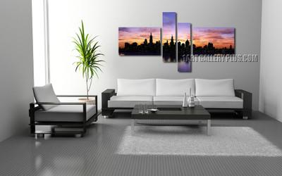 4 piece huge canvas art, living room artwork, cityscape huge pictures, purple art, new york city canvas print