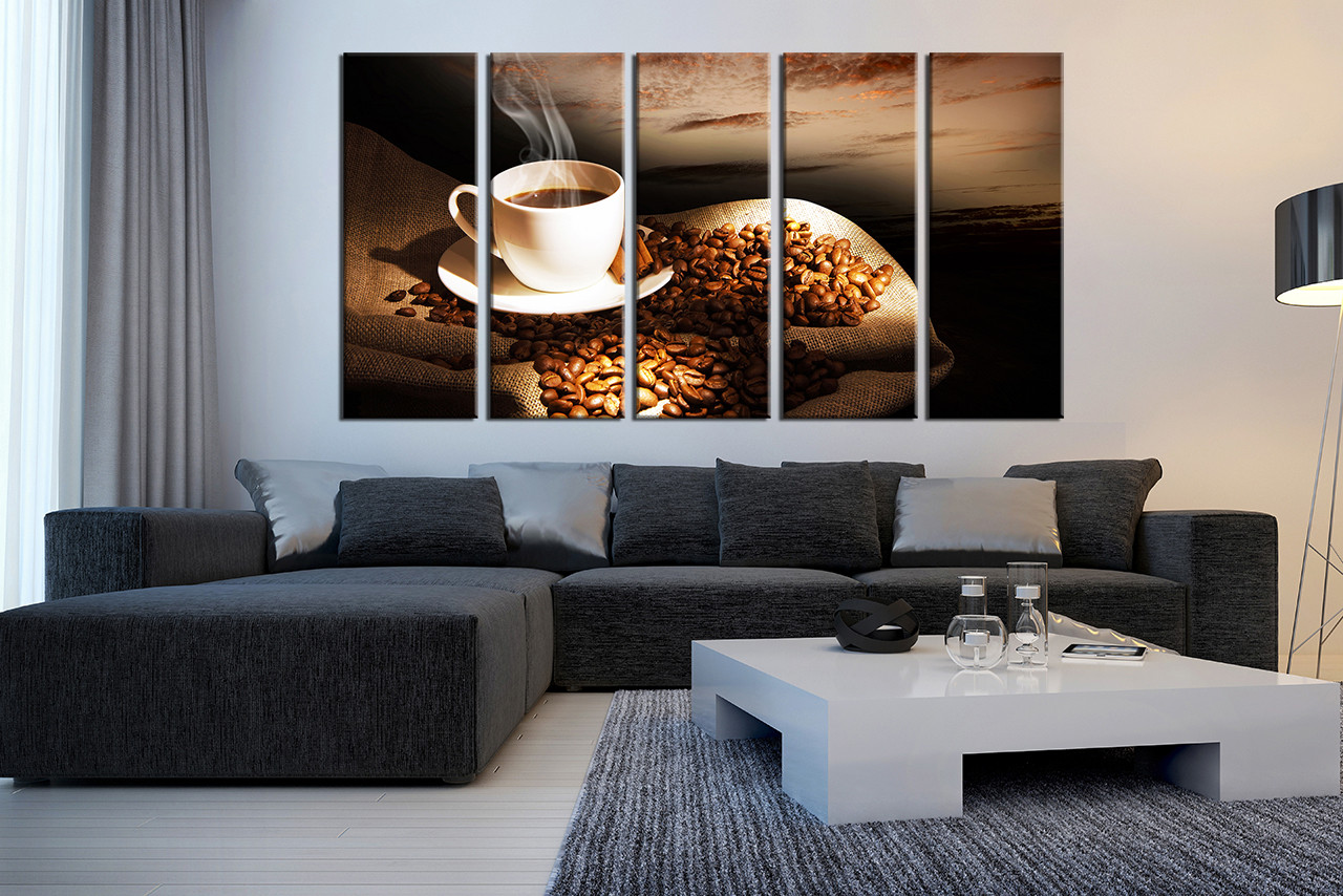 5 Piece Group Canvas, Coffee Bean Huge Canvas Print, Coffee Cup Large  Pictures, Coffee Multi Panel Art, Kitchen Wall Decor