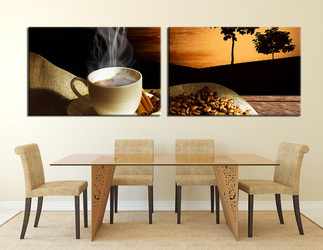 dining room art, 2 piece canvas art prints, kitchen large pictures, coffee multi panel canvas, coffee beans pictures