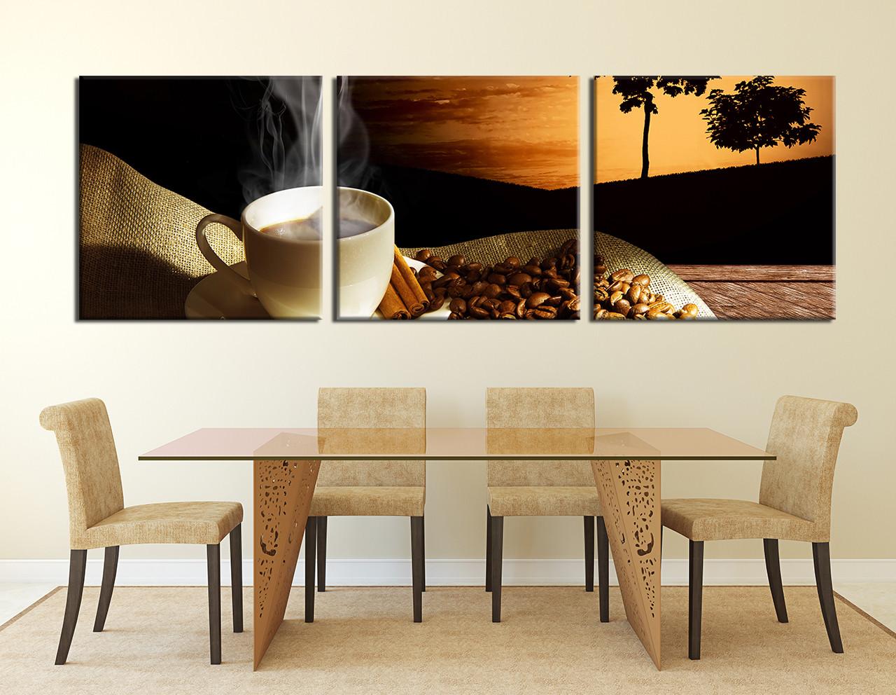 3 Piece Canvas Photography, Coffee Bean Multi Panel Art, Coffee Wall Decor,  Coffee Cup Artwork, Kitchen Canvas Wall Decor