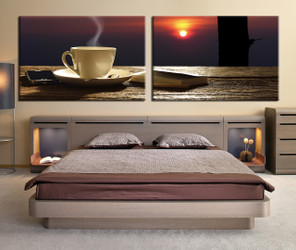 bedroom decor, 2 Piece Wall Art, coffee beans canvas art prints, kitchen multi panel art, cup canvas photography