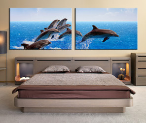 2 piece wall decor, bedroom canvas print, fish multi panel canvas, dolphin large pictures
