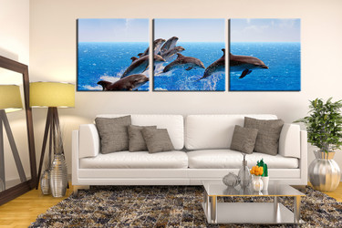 3 piece group canvas, living room canvas photography, dolphin artwork, wildlife wall decor