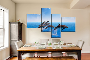 4 piece canvas print, dining room canvas wall art, blue sky group canvas, dolphin huge canvas art, fish large pictures