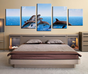 5 piece group canvas, dolphin multi panel art, panoramic fish huge canvas art, wildlife canvas wall art