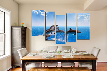 5 piece canvas print, dining room canvas wall art, blue sky group canvas, dolphin huge canvas art, fish large pictures