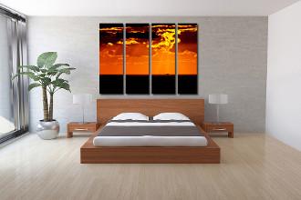 4 piece large pictures, bedroom photo canvas, ocean art, orange multi panel art, cloudy sky huge canvas print