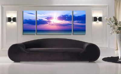 3 piece multi panel canvas, living room artwork, ocean photo canvas, sunset huge pictures, panoramic art