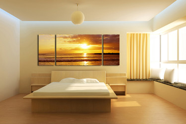 3 piece large pictures, bedroom group canvas, ocean sunset art, yellow multi panel canvas, panoramic huge canvas art