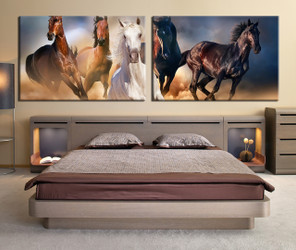 2 piece large canvas, bedroom group canvas, brown black horse canvas wall art, wildlife large pictures