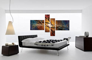 4 piece group canvas, bedroom large pictures, abstract artwork, colorful huge canvas print, oil painting canvas print
