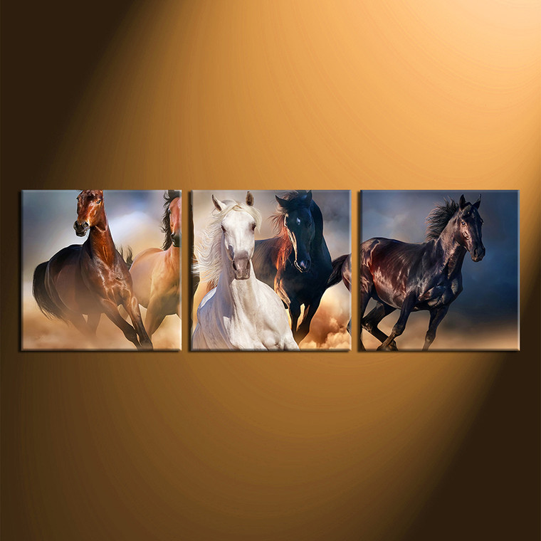 3 piece large canvas, home decor, blue yellow horse group canvas, wildlife huge canvas print, wildlife canvas photography