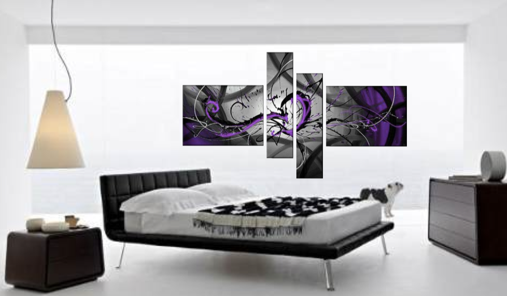4 Piece Large Canvas, Purple Abstract Multi Panel Art, Oil Painting Artwork