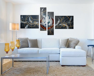 4 piece huge canvas art, living room large pictures, abstract multi panel canvas, gray wall decor, oil painting photo canvas