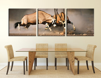 dining room art, 3 piece canvas art prints, wildlife wall art, waterbuck artwork, animal pictures