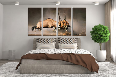bedroom decor, 4 piece wall art, waterbuck large pictures, waterbuck wildlife art, animal huge pictures