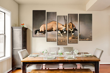 dining room art, 5 piece group canvas, wildlife wall art, waterbuck artwork, animal canvas wall art