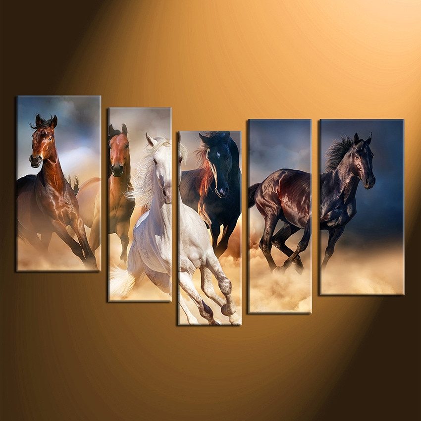 5 Piece Multi Panel Art, Horse Wall Decor, Animal Canvas Photography, Brown  Horse Huge Canvas Print, Wildlife Large Pictures