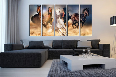 living room wall art, 5 Piece huge canvas art, horse multi panel art, animal wall art, wildlife canvas wall art