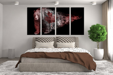 4 piece canvas wall art, brown bear huge pictures, wildlife group canvas, animal canvas print, animal art, bedroom decor