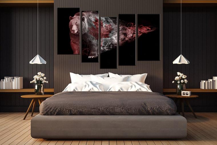 5 piece group canvas, living room canvas wall art, brown bear canvas print, panoramic wildlife decor, animal artwork