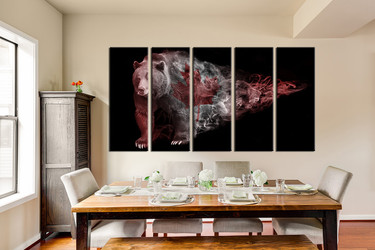 5 piece photo canvas, wildlife group canvas, bear huge canvas art, animal multi panel canvas