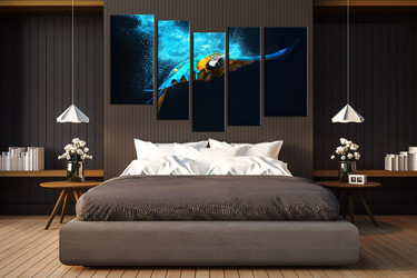 5 piece group canvas, bedroom canvas photography, parrot huge pictures, wildlife artwork, bird canvas wall art