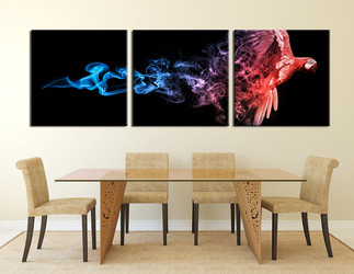 3 piece canvas wall art, dining room huge canvas art, parrot large canvas, wildlife canvas photography