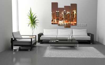 4 piece huge canvas print, living room photo canvas, brown artwork, city multi panel art, new york city artwork