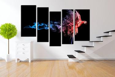 5 piece canvas wall art, parrot huge canvas art, bird large pictures, wildlife canvas print