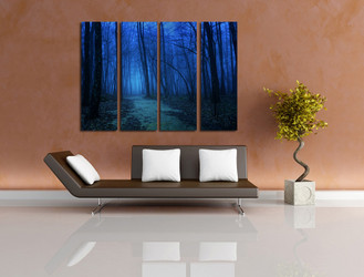 4 piece huge canvas art, living room art, scenery multi panel canvas, blue wall decor, forest large pictures
