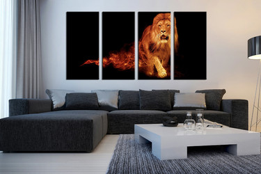living room art, 4 piece canvas wall art, wildlife decor, wildlife artwork, lion large canvas