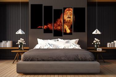 5 piece canvas art print, bedroom wall art, wildlife canvas photography, lion artwork, wildlife art